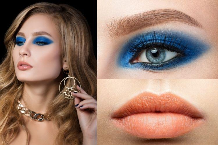 Peachy Blush Lips Blue Smokey Eyes 1